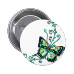 green butterfly 6 cm round badge