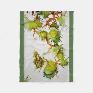 Green Butterfly and Fruits Fleece Blanket
