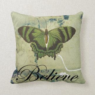 Green Butterfly Believe Throw Pillow