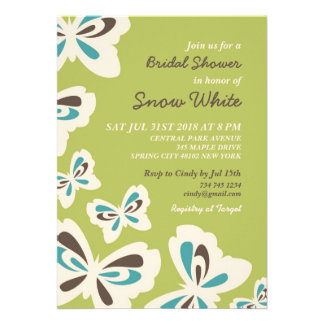 Green Butterfly Bridal Shower Wedding Invitation