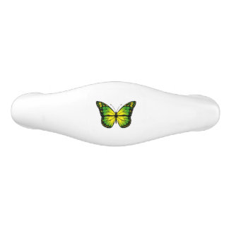 Green butterfly ceramic drawer pull
