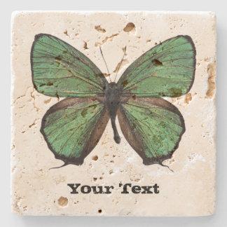 Green Butterfly Custom Stone Coaster