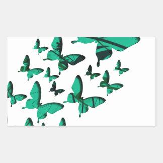 Green Butterfly Cutouts Rectangular Sticker