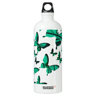 Green Butterfly Cutouts Water Bottle