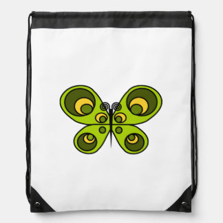 Green Butterfly Drawstring Backpack