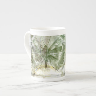 Green Butterfly Inset with Ironwork Gate Tea Cup