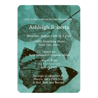 Green Butterfly Leaves Bridal Shower 5x7 Paper Invitation Card