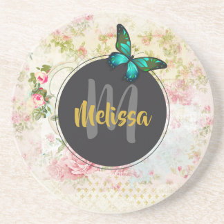 Green Butterfly on Chic Vintage Collage Monogram Coaster