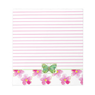 Green Butterfly Pink Watercolor Flowers Lined Notepad