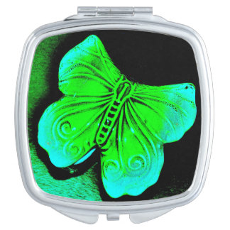 Green Butterfly Travel Mirror