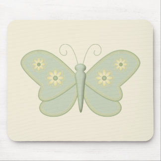 Green Butterfly with Cream Flowers Mouse Pad