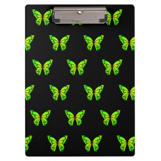 Green Butterflys and Black Background by storeman Clipboard