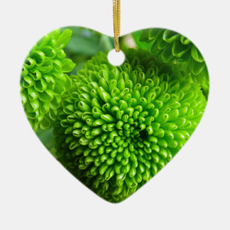 Green Button mums Ceramic Heart Decoration