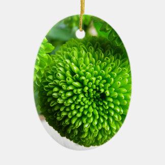Green Button mums Christmas Ornament