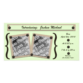 Green Buttons & Brackets Birth Announcement Card