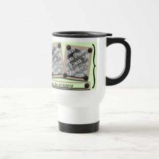 Green Buttons & Brackets Travel Mug