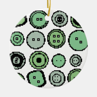 green buttons round ceramic decoration