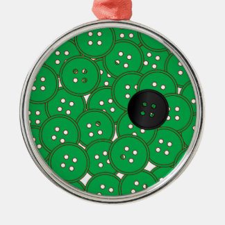 Green Buttons Silver-Colored Round Decoration