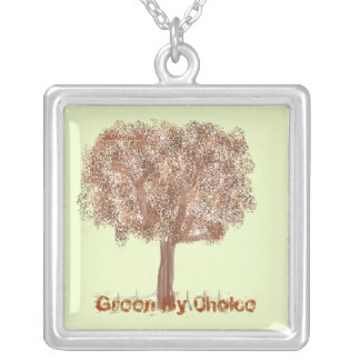 Green by choice square pendant necklace