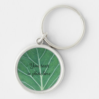 Green Cabbage Leaf 0933 Silver-Colored Round Key Ring