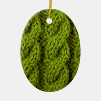 Green cable knitting christmas ornament