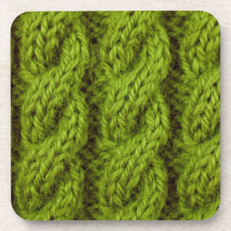 Green cable knitting drink coaster