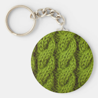Green cable knitting key ring
