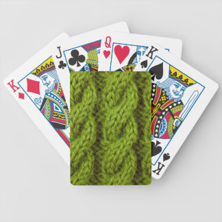 Green cable knitting poker cards