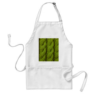 Green cable knitting standard apron
