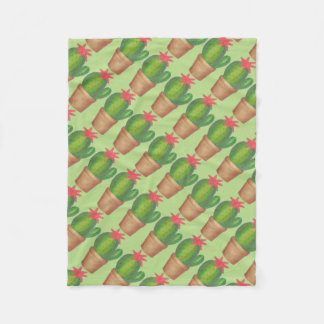 Green Cactus Flower Cacti Potted Plant Blanket