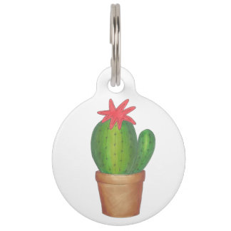 Green Cactus Flower Personalized Plant Pet Dog Tag
