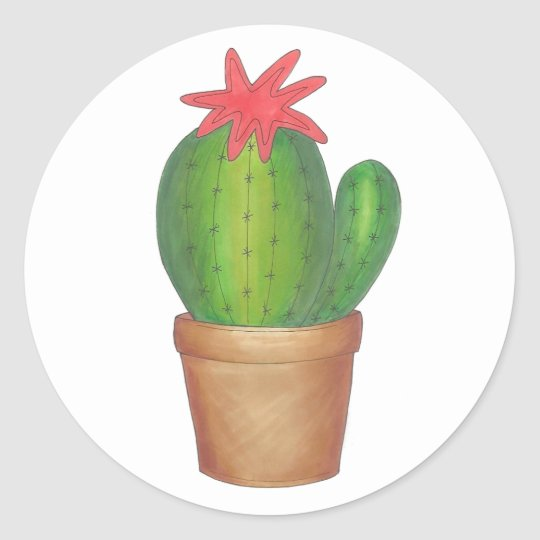 Green Cactus Flower Potted Plant Cacti Stickers