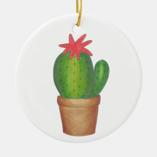 Green Cactus Flower Potted Plant Garden Ornament