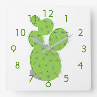 Green cactus on white square wall clock
