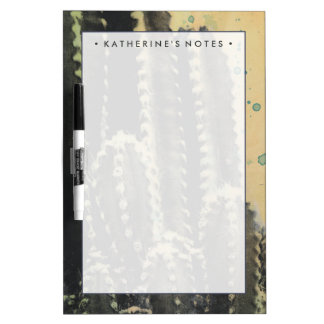Green Cactus on Yellow Background Dry Erase Boards