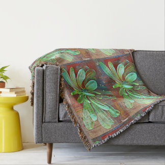Green Cactus Plant Throw Blanket