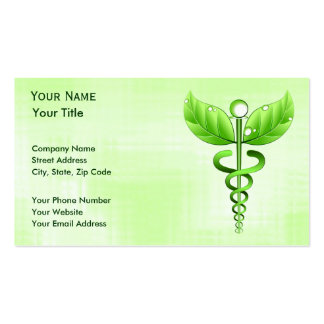 Green Caduceus Alternative Medicine Basic Standard Pack Of Standard Business Cards