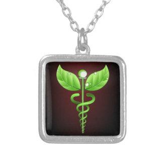 Green Caduceus Alternative Medicine Dark Red Silver Plated Necklace