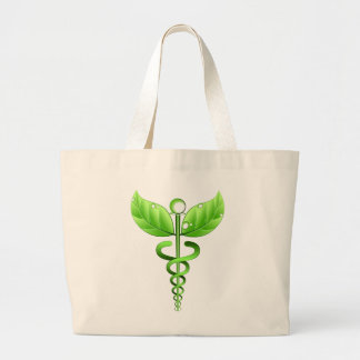 Green Caduceus Alternative Medicine Medical Icon Jumbo Tote Bag