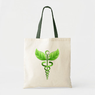 Green Caduceus Alternative Medicine Medical Icon Tote Bag