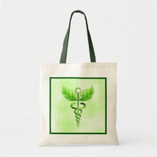 Green Caduceus Holistic Health Natural Therapy Budget Tote Bag