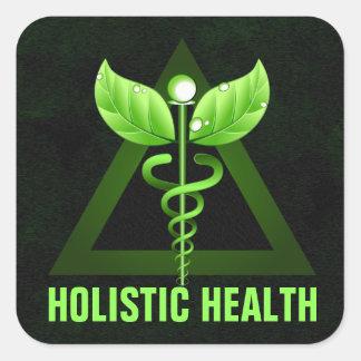 Green Caduceus Holistic Health Square Stickers Square Stickers