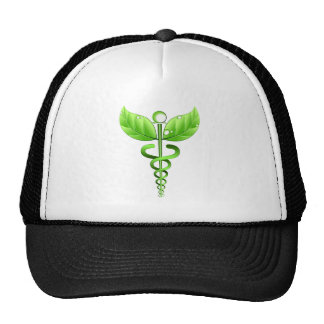 Green Caduceus Medical Symbol Alternative Medicine Cap
