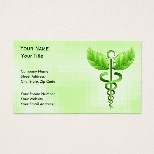 Green Caduceus Unique Alternative Medicine Business Card