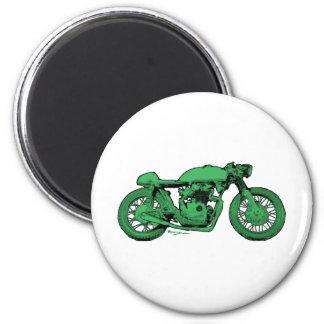 Green Cafe Racer Vintage Motorcycle 6 Cm Round Magnet