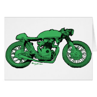 Green Cafe Racer Vintage Motorcycle Greeting Card