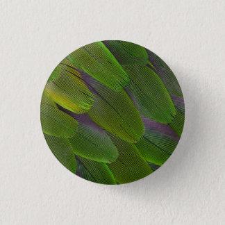 Green Caique Parrot Feather Design 3 Cm Round Badge