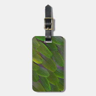 Green Caique Parrot Feather Design Luggage Tag