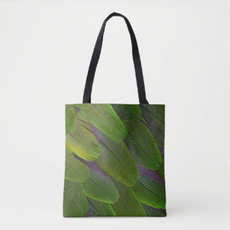 Green Caique Parrot Feather Design Tote Bag