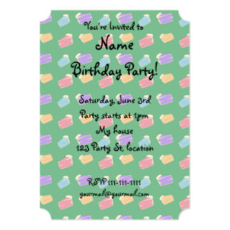 Green cake pattern 13 cm x 18 cm invitation card